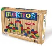 Blokitos em Madeira com 60 Peças Coloridas - Pais e Filhos
