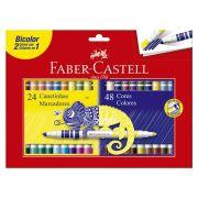 Caneta Hidrográfica Bicolor 24 Canetas/48 Cores - Faber-Castell
