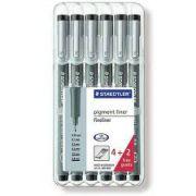 Caneta Nankin Pigment Liner Preta Descartável Estojo com 6   -  Staedtler