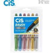 Canetas Cis Brush Metallic com 6 cores