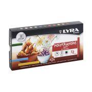 Giz Pastel Seco Polycrayons Lyra com 12 Cores - 5651120