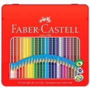 Lápis de cor EcoLápis Grip 24 Cores, Faber-Castell, 121024LT, Grafite - Estojo Lata