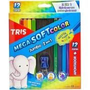 Lápis de Cor Mega Soft Color 12 Cores Jumbo + Apontador - Tris