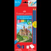 Lápis De Cor Sextavado Faber Castell 12 Cores + 02 Lápis Preto + Acessórios De Brinde