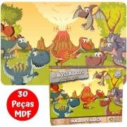 Quebra-Cabeça - Dinossauros - 30 Peças - Pais & Filhos (em Madeira)