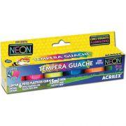 Tinta Guache C/6 Cores Neon Acrilex 15ml