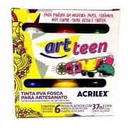 Tinta PVA Fosca para artesanato 6 Cores Art Teen - Acrilex