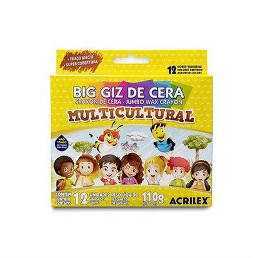 Big Giz de Cera Multicultural com 12 Cores Acrilex