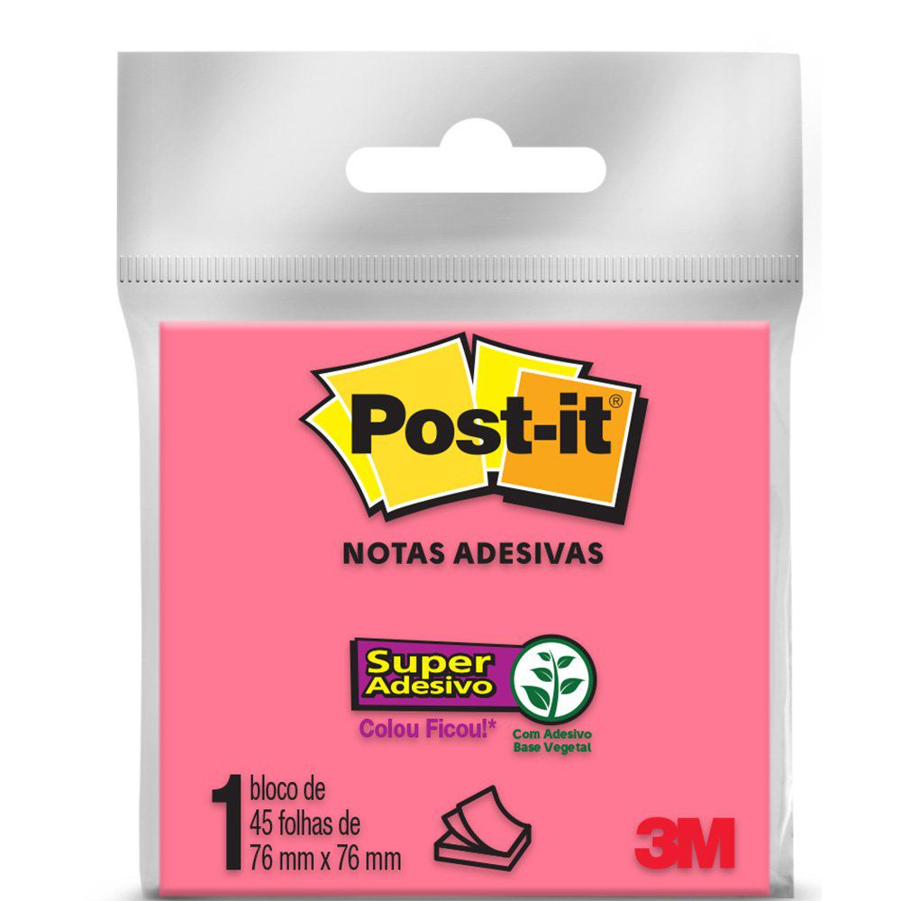 Bloco Post-it 76x76mm Neon c/ 45 Folhas