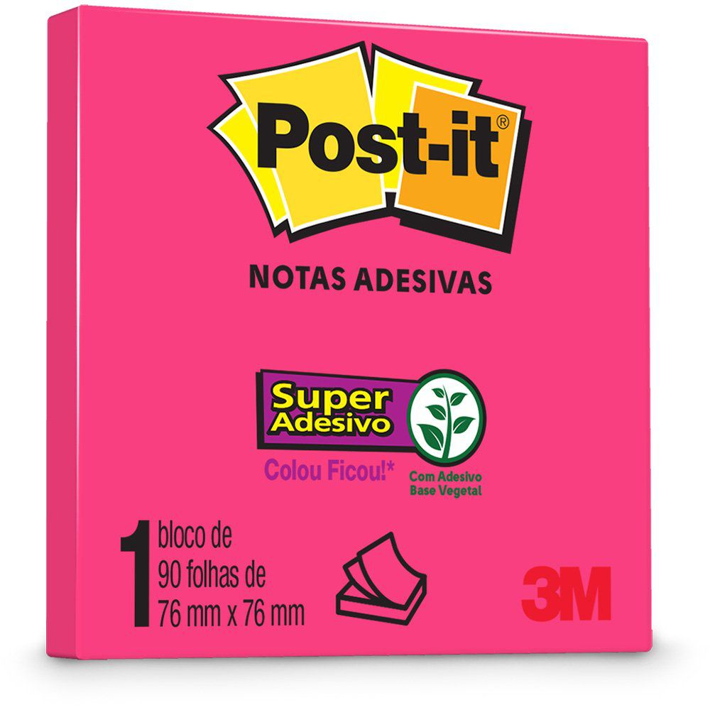 Bloco Post-it 76x76mm Pink Neon c/ 90 Folhas