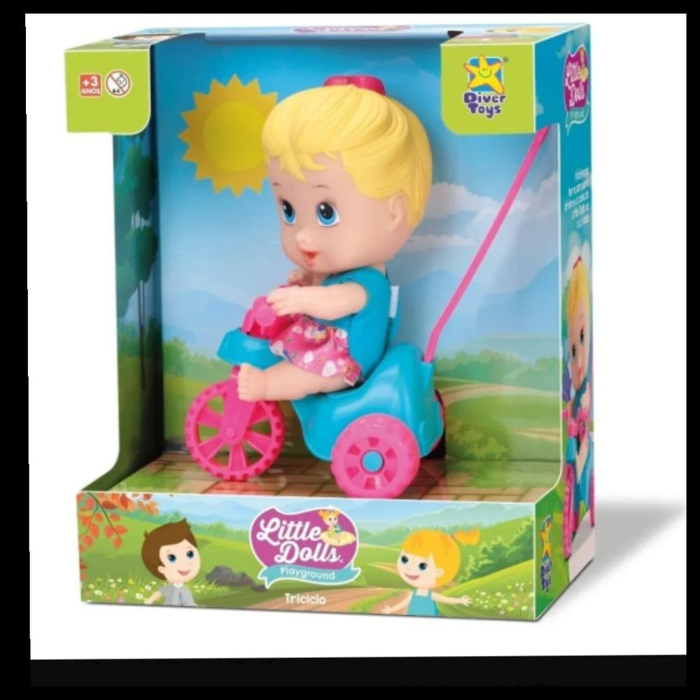 Boneca Little Dolls Playground Triciclo - Diver Toys