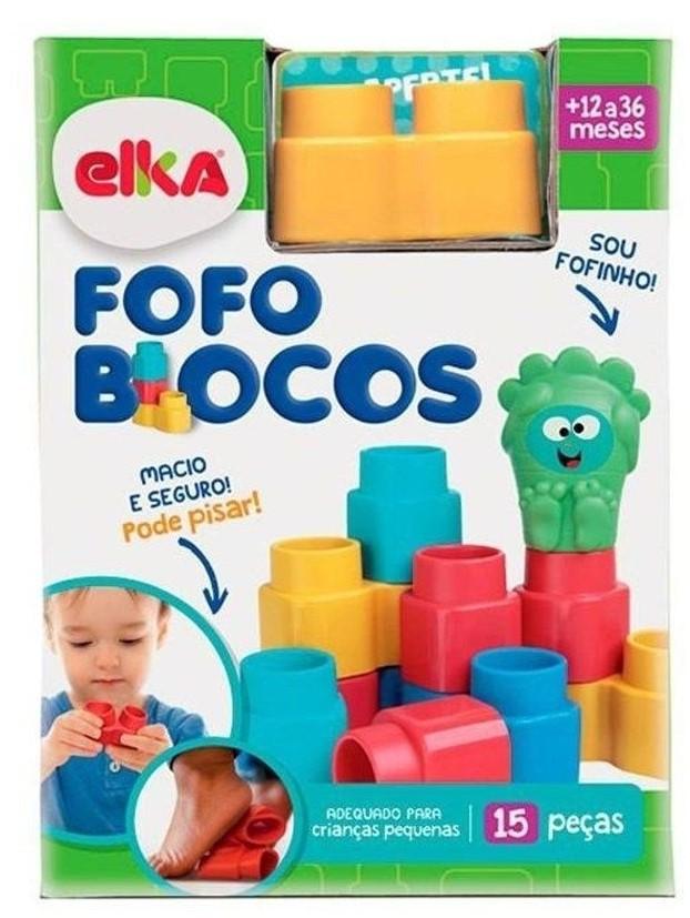 Brinquedo Blocos de Encaixe Fofo Blocos 15 peças Elka