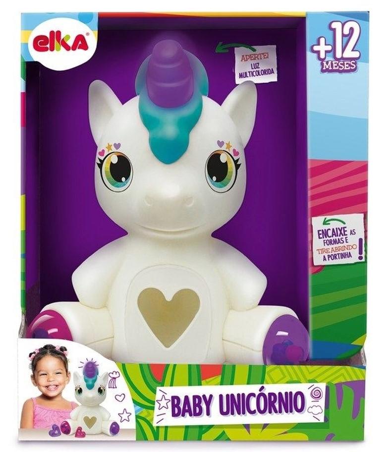 Brinquedo Infantil Baby Unicórnio Com Luz - Elka
