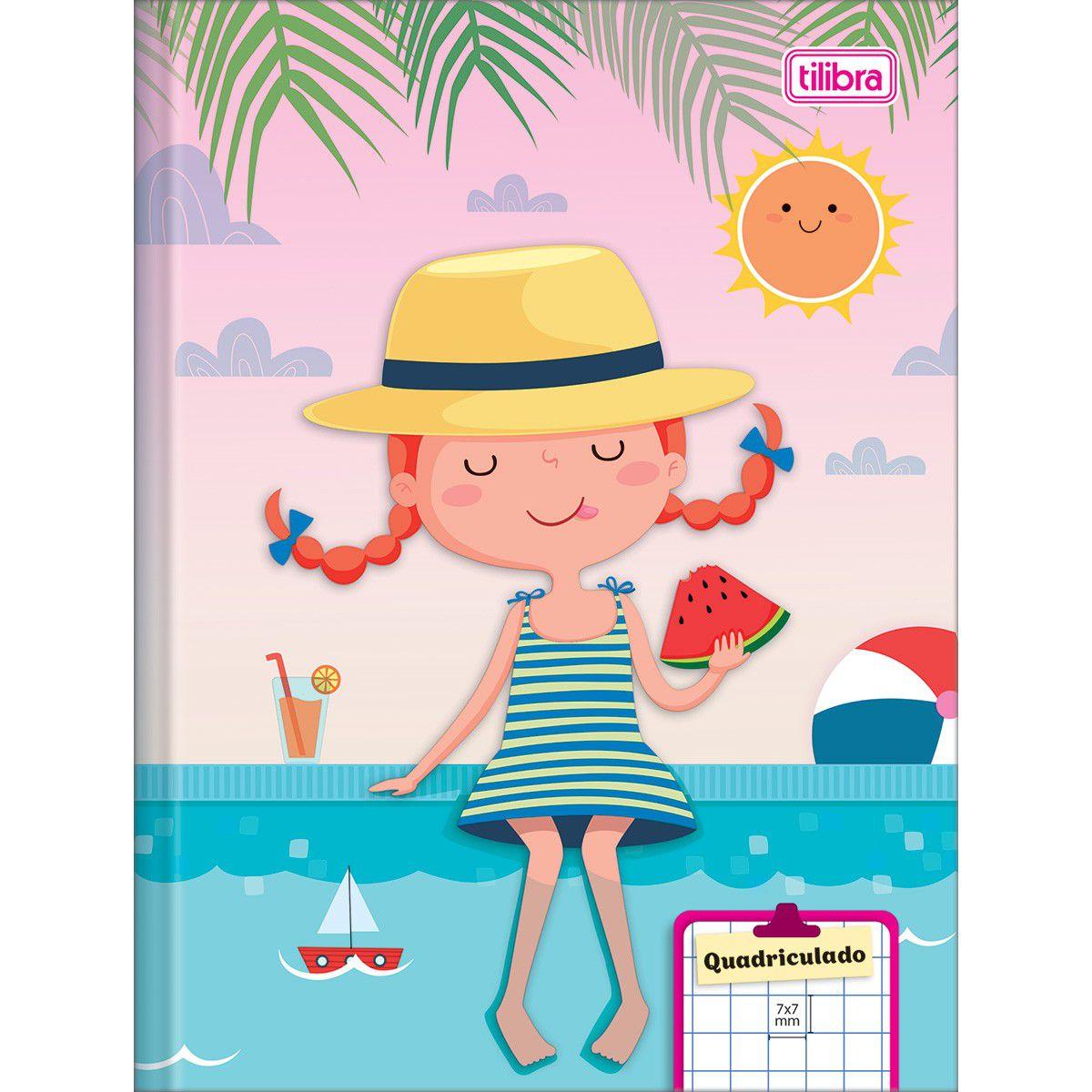 Caderno Brochura Capa Dura 1/4 Quadriculado  Sapeca 40 Folhas - Tilibra
