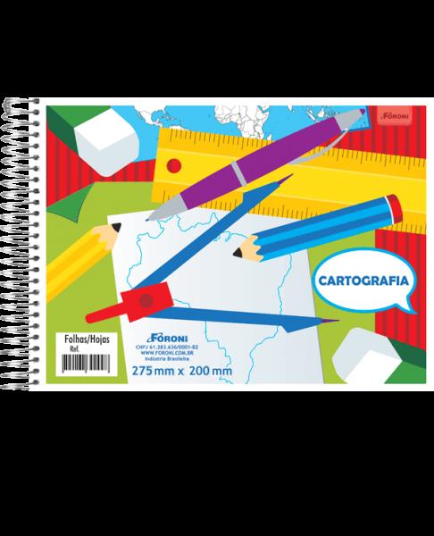 CADERNO CARTOGRAFIA CAPA FLEXÍVEL  - FORONI