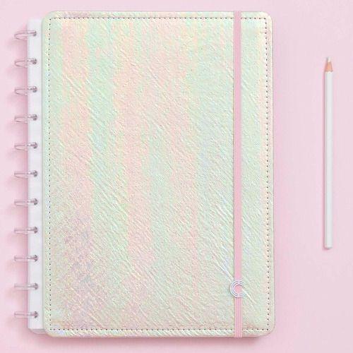 Caderno Inteligente Grande Rosa Holográfico - CIGD4059