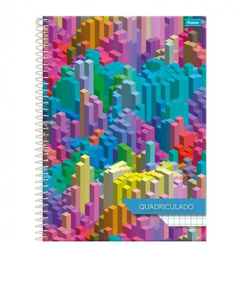 Caderno quadriculado capa dura univ. 1X1 -  Foroni