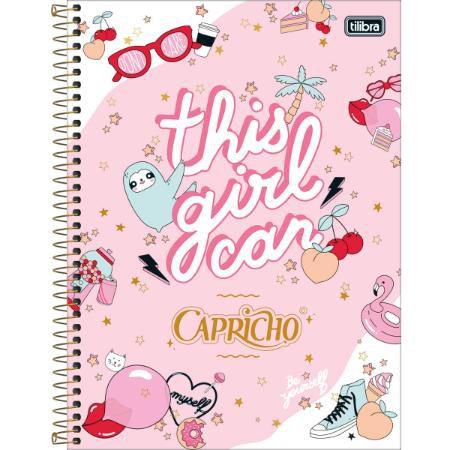 Caderno Universitário Capricho 1x1 Espiral Capa Dura - 80 Folhas - Tilibra