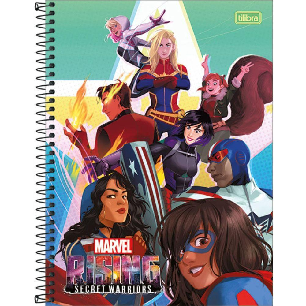Caderno Universitário Marvel Rising 1x1 Espiral Capa Dura - 80 Folhas - Tilibra