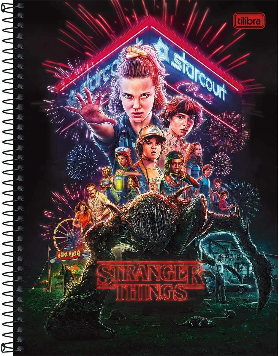 Caderno Universitário Stranger Things 1x1 Espiral Capa Dura - 80 folhas - Tilibra