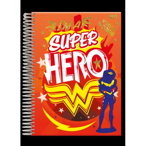 Caderno Universitário Super Hero 1x1 Espiral Capa Dura - 96 Folhas - Foroni