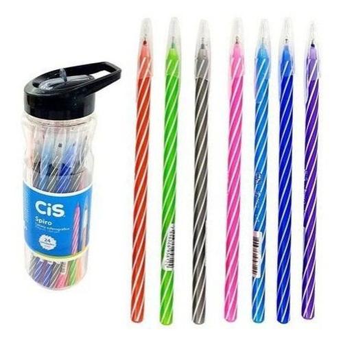 Caneta Cis Spiro 0,7mm Cores Sortidas Pote com 24 unidades