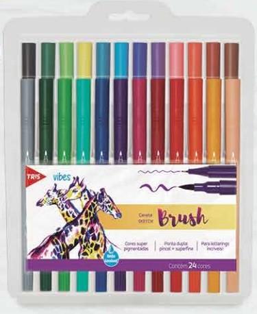 Caneta Tris Sketch Brush 24 Cores - Ponta Dupla