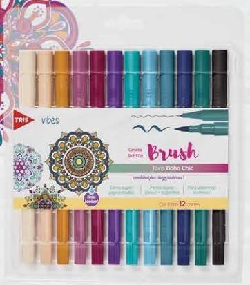 Caneta Tris Sketch Brush Tons Boho Chic 12 Cores - Ponta Dupla