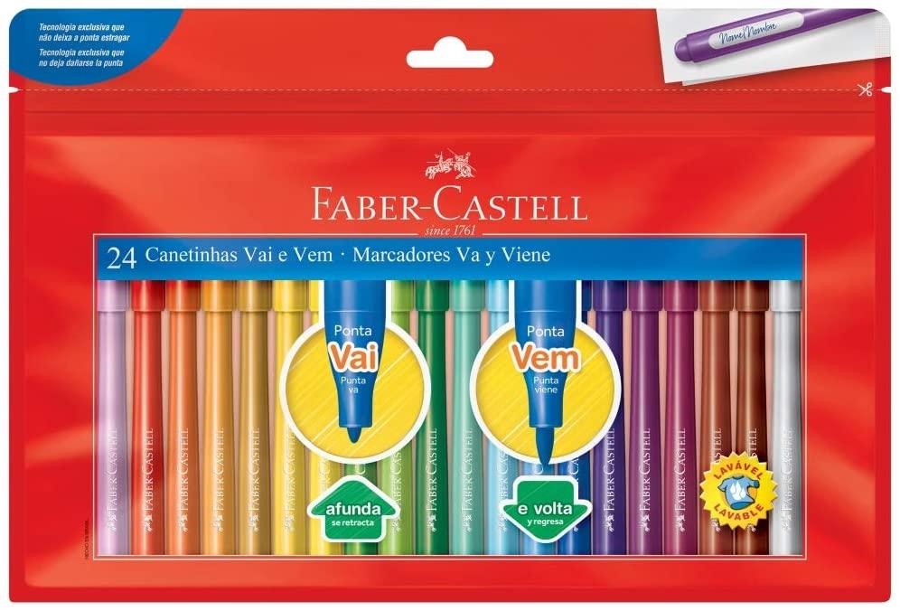 Canetinha Vai e Vem 24 Cores - Faber-Castell