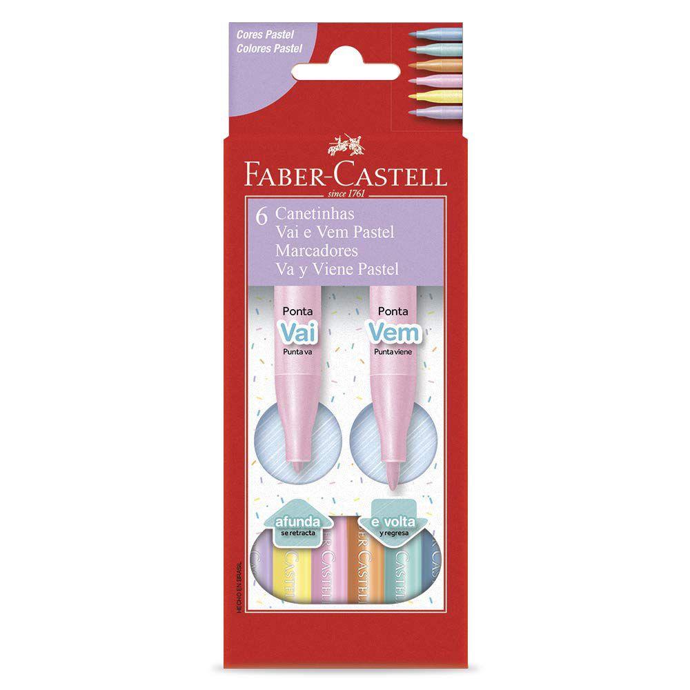 Canetinha Vai e Vem Pastel 6 Cores, Faber-Castell
