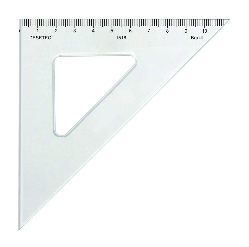 Esquadro 45° de 16 cm em Acrílico Cristal com Escalas Ref. 1516, Trident, Incolor
