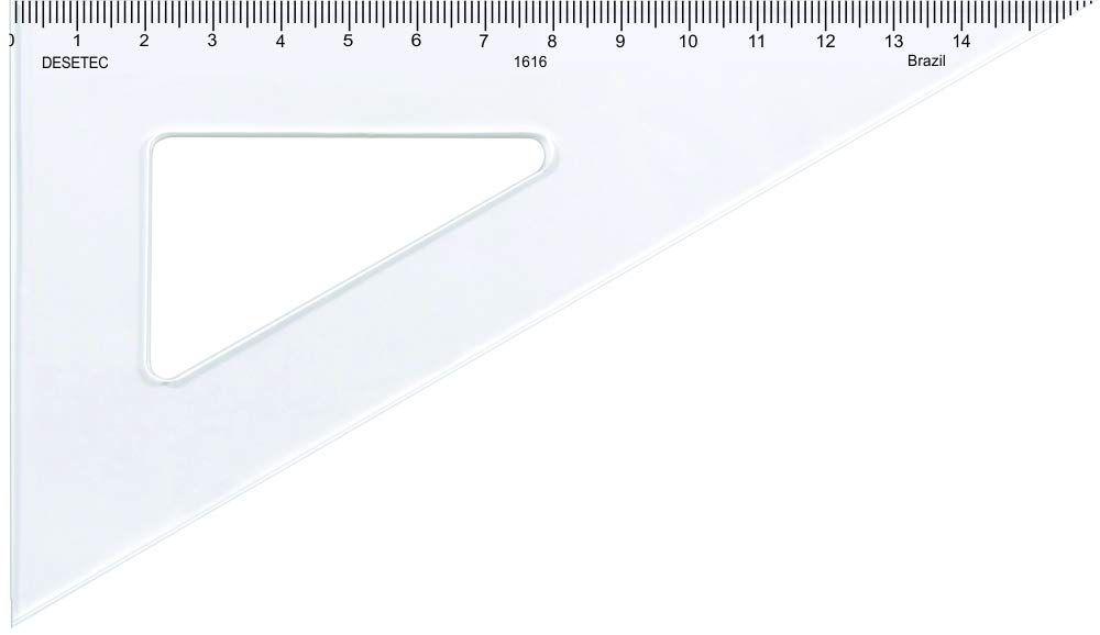 Esquadro 60° de 16 cm em Acrílico Cristal com Escala - REF 1616, Trident, Incolor