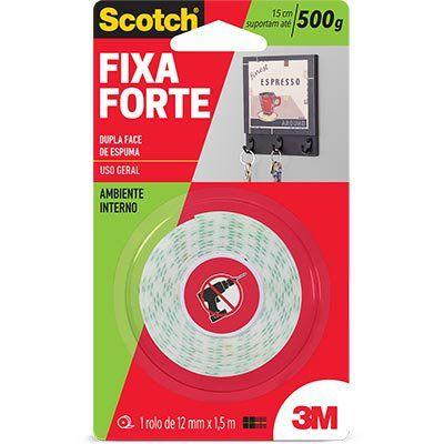 FITA FIXA FORTE  SCOTCH 3M - 12MM X1,5M - AMBIENTE INTERNO