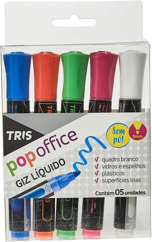 Giz Líquido Tris Pop Office 5 Cores