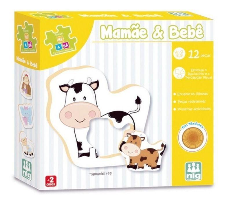 Jogo de Encaixe Mamãe & Bebê Em Madeira - Nig Brinquedos