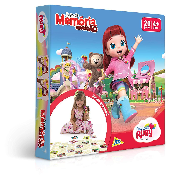 Jogo de Memória Grandão 40 Peças Rainbow Ruby Toyster