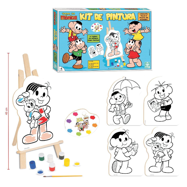 Kit de Pintura Turma da Mônica Em Madeira - Nig Brinquedos