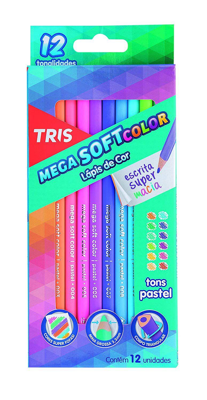 Lápis De Cor 12 Cores Mega Soft Tons Cor Pastel Tris