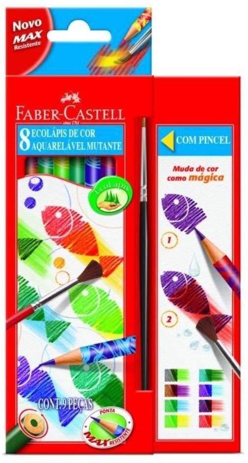 Lápis de Cor Ecolápis Aquarelável Mutante 8 Cores - Faber Castell + Pincel