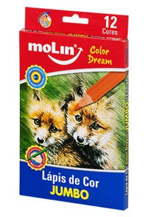 Lápis de Cor Jumbo Color Dream com 12 Cores Molin