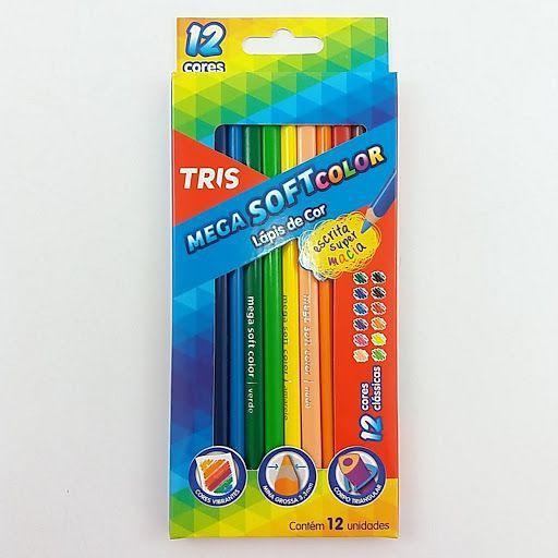 Lápis de Cor Mega Soft Color 12 Cores - Tris