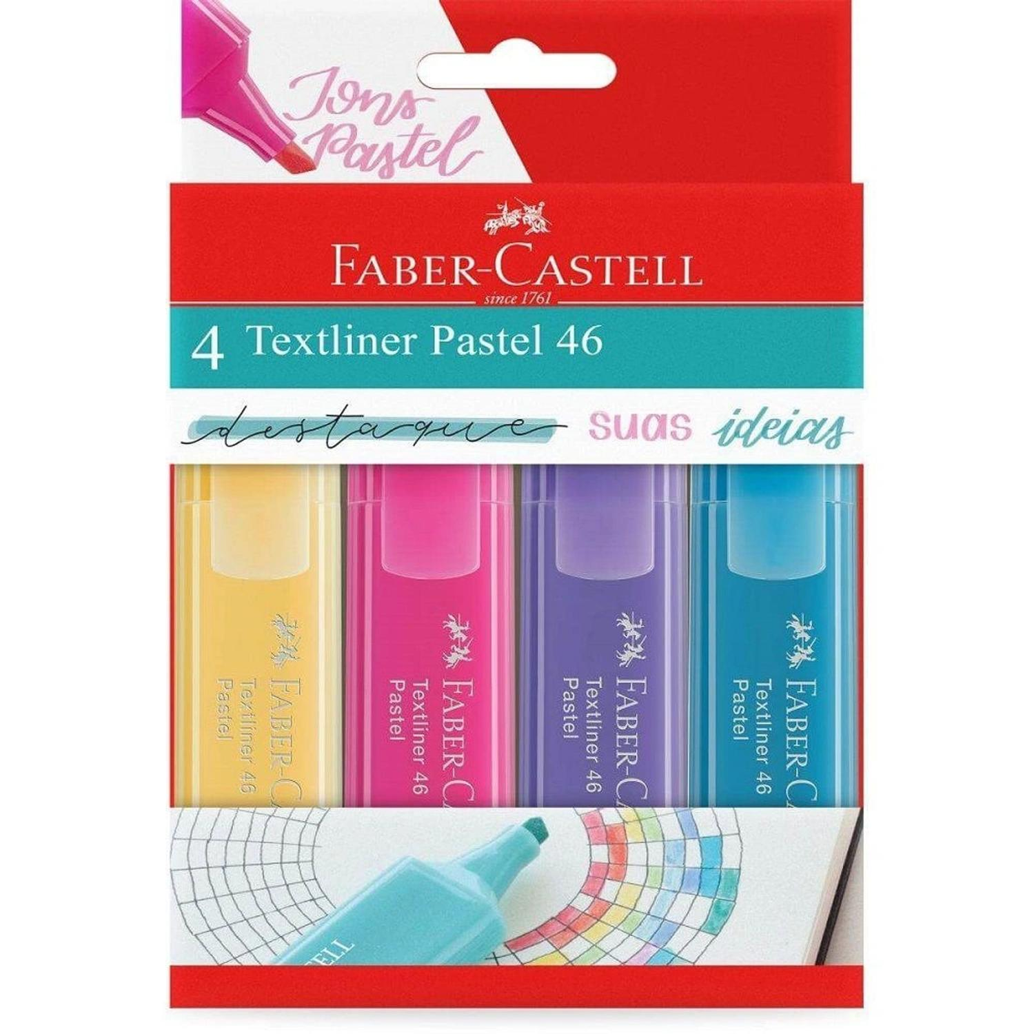Marca Texto Textliner 46 Pastel Faber Castell Kit c/ 4 Cores