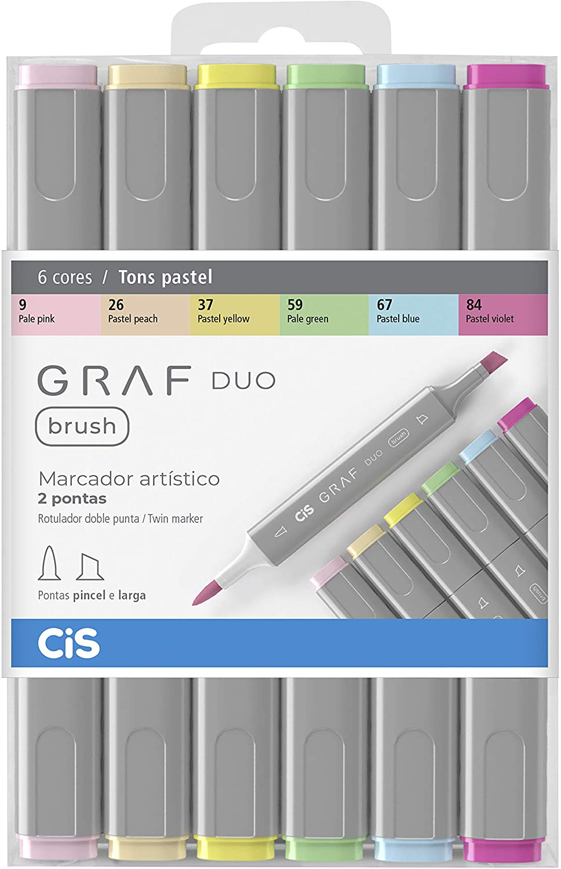 Marcador CIS Graf Duo Brush Multicor C/6