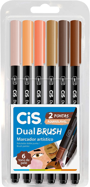 Marcador Dual Brush Tons de Pele Estojo c/6 - CIS