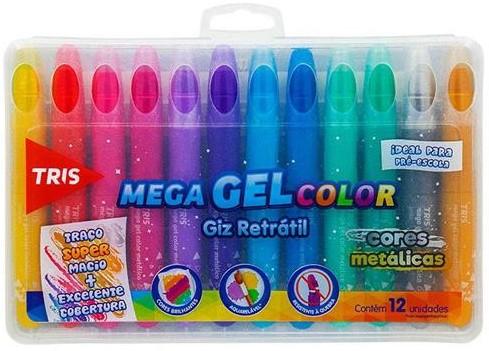 Mega Gel Color Metálico Giz Retrátil - Tris