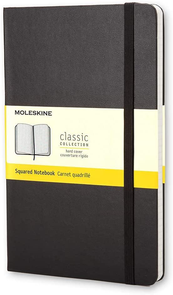 Moleskine - Caderno Clássico, Quadriculado, Preto, Capa Dura, Tamanho Bolso