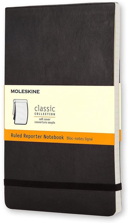 Moleskine - Caderno Clássico, Pautado, Preto, Capa Flexível, Tamanho Grande