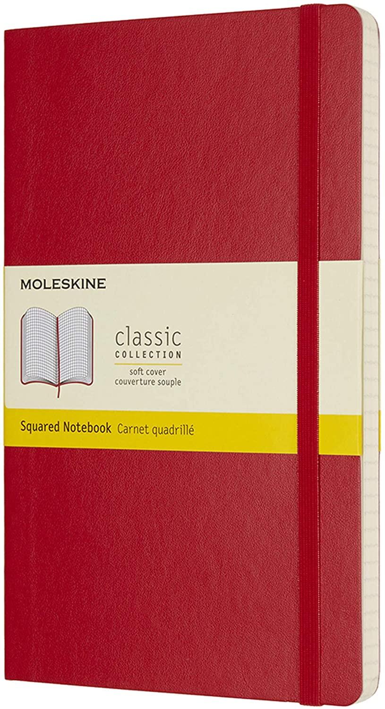 Moleskine - Caderno Clássico, Quadriculado, Vermelho, Capa flexível, Tamanho Grande