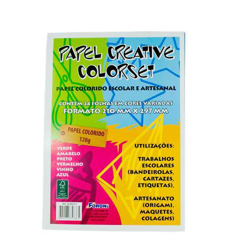 Papel Creative Colorset  210mm X 297mm 24fls 6 Cores - Foroni