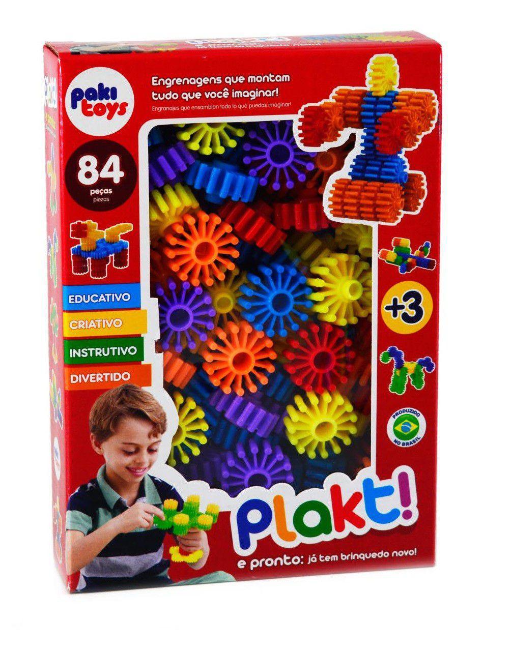 Plaskt ! Kit com 84 Peças de Engrenagens Tipo Bloco para Montar